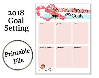 New Year's Resolutions Printable, 2018 New Year's Goals Printable, New Year's Eve, Goal Setting, Goal Journal, New Year's Planner
