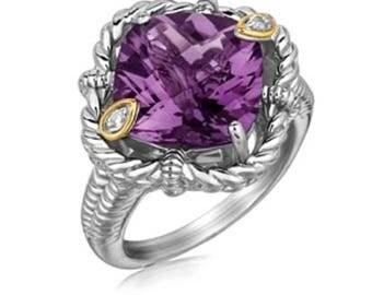 CUSHION CUT AMETHYST Ring Boho Amethyst Ring Amethyst Crystal Ring Unique Amethyst Ring Amethyst And Diamond Ring February Birthstone Ring