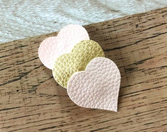 Pink/Gold Heart Snap Clip - Faux Leather - Snap Clips - 50mm Clips - 2.5 inches - Hair Bows