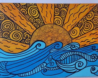 Sunset Wave Mandala Painting