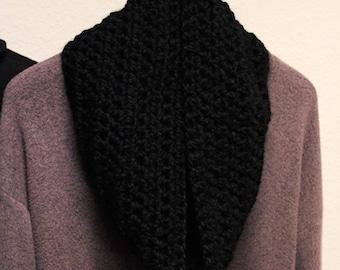 Handmade Crocheted Black Infinity Scarf