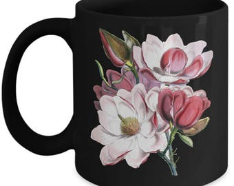 Magnolia Flower Mug For Women Gardener Botanist - Magnolias Gift - Flowers Tea Cup - Flower Botanical Gifts Floral (Black,White,11,15 oz)