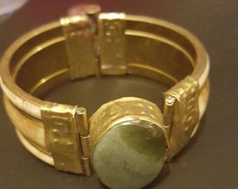 gorgeous Rustic Bohemian Hinged pin Cuff Bracelet with green stone cabochan Vintage