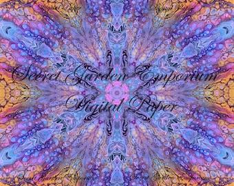 Digital Paper #22 - Original Scrapbook, Decorative Paper, with a Psychedelic Kaleidoscope  Pattern