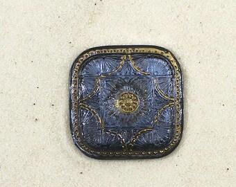 Blue Star Foil on Square Czech Glass Button-GL-842