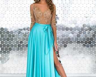 """Evening Dress, Prom Dress """"INGRIT AZURE"""" with laces"""