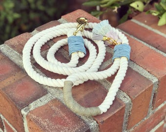 Cotton Cord Dog Leash with Suede Accents and Doggy Bag