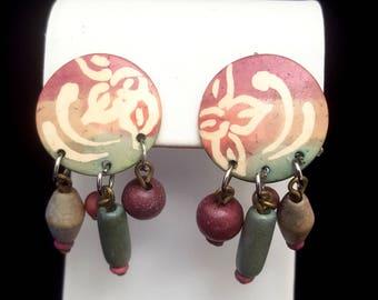 Vintage Beaded Clip On Dangle Earrings