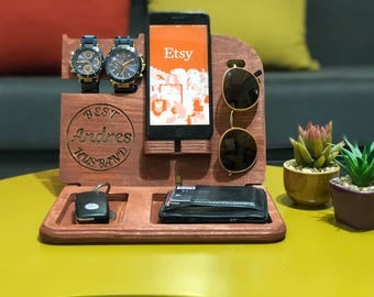 Docking Station gift for husband gifts for men Personalized Gift for Him Custom Gift for Dad Fathers Day Gift Wood docking station mens gift