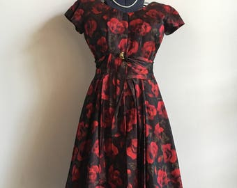 New Years Dress, Vintage Rose Patterned Party Dress With a Sash and Gold Pin