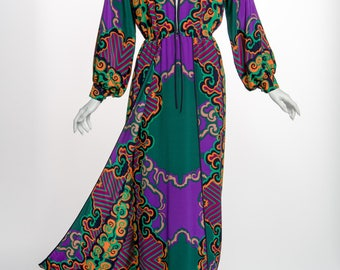 1970s James Galanos Couture Emerald Green and Purple Silk Print Dress