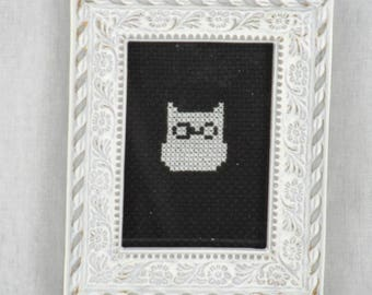 Finished Cross Stitch/Embroidery/Black and White/Gift/Owl