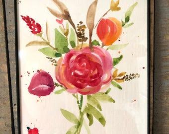 Handmade Watercolor Flower Bouquet