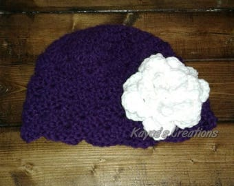 Girls beanie with flower / girls purple hat with flower/royal purple beanie/ crochet beanie/ kids hat with flower/purple hat/child's beanie