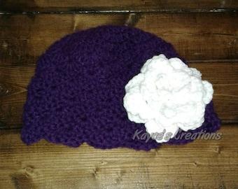 Kids beanie with flower, beanie with flower, winter hat, Crochet beanie, girls beanie with flower, hat with flower, beanie,purple, royal