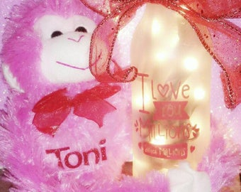 Valentines Day Gift/personalized monkey with name/wine bottle lamp/Valentine/monkey/personalized