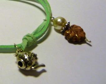 EARL GREY, green, adjustable suede bracelet tender, teapot charm, beads