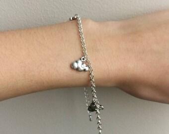 "Bracelet silver metal ""clouds"""
