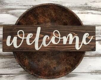 WELCOME Sign handmade hanging wood sign home decor farmhouse porch entryway gift