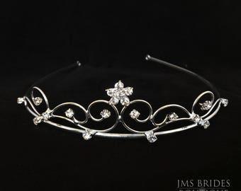 Rita Wedding Rhinestone,Bridesmaids  ,Tiara,Bride,large,Bridal l Bridal Crystal Wedding Crown Rhinestone Tiara Wedding Tiara Diamante,Bride