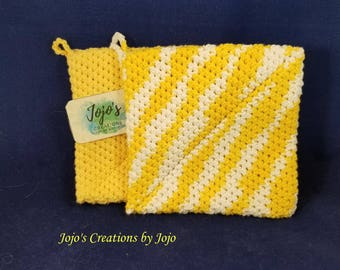 crochet hot pads, cotton hot pads, yellow and white, pot holders, hand made, housewarming gift