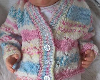 Knitted Baby Girl Cardigan, Hand Knitted Multi Colour Cardigan, Knitted Baby Jacket, Knitted Baby Clothes, Newborn Gift, Baby Shower Gift