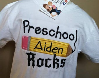 Personalized Back to School Rocks Pencil ANY GRADE Shirt