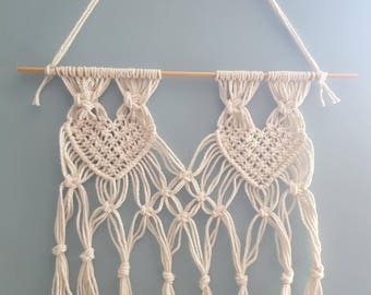 macrame wall hanging, heart shape macrame, beige, wall decor