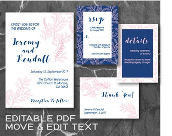 Navy blue wedding invitation template Pink Blush wedding invite set Navy Pink wedding invitation printable Elegant wedding invite - DIGITAL