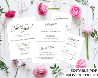 Simple wedding invitation template Classic wedding invite printable White wedding invitation set Romantic invite editable DIGITAL