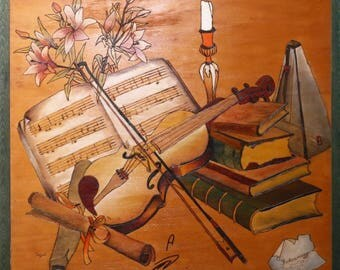 "an engraved and painted picture on a wood- ""metronom and a violin"" art drawing , 3d drawing ,painting"