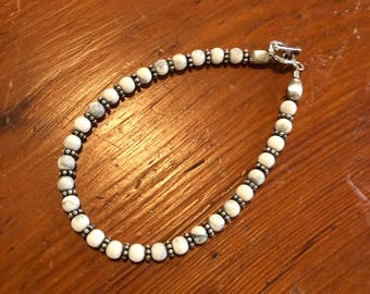 White Howlite Beaded Bracelet Sterling Silver