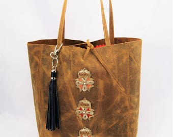 Distressed Brown Tan Leather Tote Embellished with Vintage Indian Metal Thread Appliques and Blue Metallic Chrome Tassel.