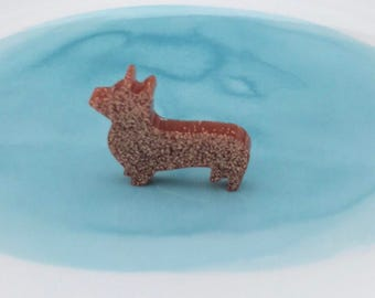Dog shaped resin brooch (each)