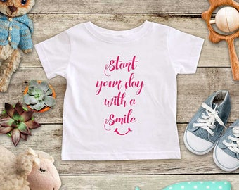 Start your day with a Smile happy Shirt - Baby bodysuit Toddler Youth Shirt cute birthday baby shower gift