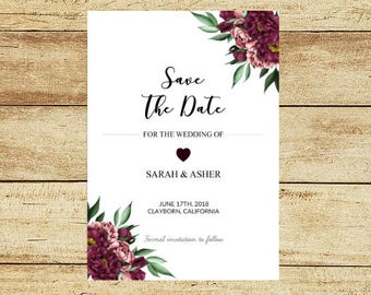 Burgundy Floral Save the Date