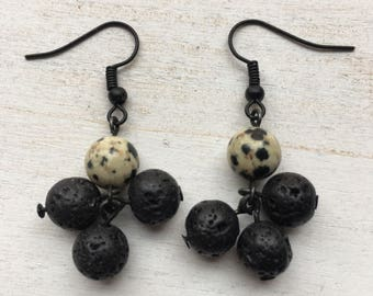 Dalmatian and Lava Stone Beaded Cluster Earrings