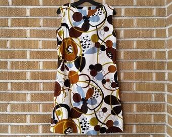neutral psychedelic mini dress 60s