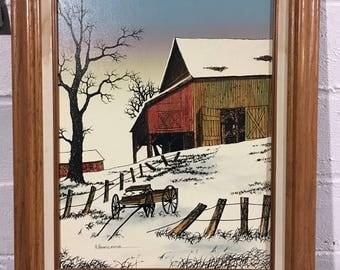 H. Hargrove Winter Barn Signed Serigraph