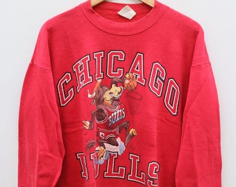 CHICAGO BULLS NBA National Basketball Association Red Vintage 1990 Sweater Sweatshirt Size Xl
