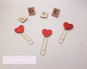 Love Heart, Red Glittery Valentines Day Planner Clips - Bookmarks, Page Markers - Decorate your Planner!
