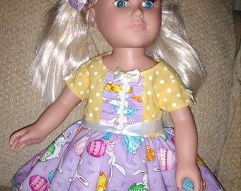 "18"" DOLL DRESS HANDMADE Cotton Blend Easter theme lavender/yellow print short sleeve full skirt non-smoker uSA made matching hairbow"