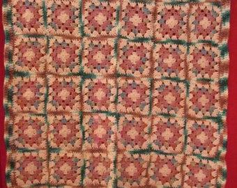 Handmade crochet granny square baby afghan throw blanket