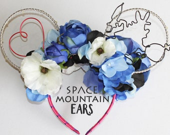Alice in Wonderland Inspired Reversible Floral Wire Mickey Ears