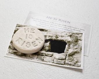 He Is Risen Stone | Resurrection Gift | Pocket Gospel | Passover Gift | Easter Gift | Christian Gift | Scripture Stone | Bible Verse