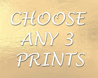 Choose any 3 Print Fashion Illustration, Fashion Art, Bundle of 3 Prints
