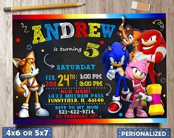 Sonic Invitation, Sonic Birthday Invitation, Sonic Invitation Digital, Sonic Invitet, Sonic Personalized, Sonic Favor Tags, sonic for boy