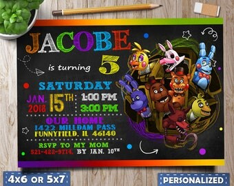 five nights at freddys invitations, five nights at freddys party, five nights at freddys birthday, five nights at freddys invite, FNAF cards