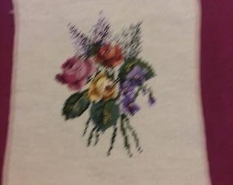 "Vintage Floral needlepoint dated 1976  ""K.N.M."""