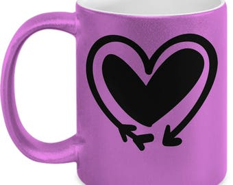 Double Heart Arrow - High Quality Cute Metallic Pink & Black Ceramic 11 oz Mug - Love Valentine's Day Mother's Day Mom Wife Girlfriend Gift